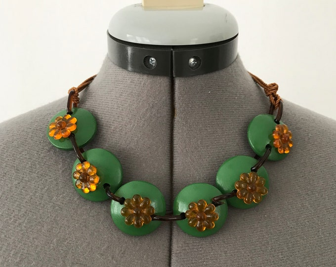 1960s Wood and Plastic Handmade Bohemian Necklace