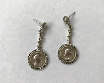 Silver Gladiator Coin Drop Earrings