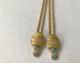 Pair of Pastel Mushroom Friendship Necklaces on Gold Rope Chains