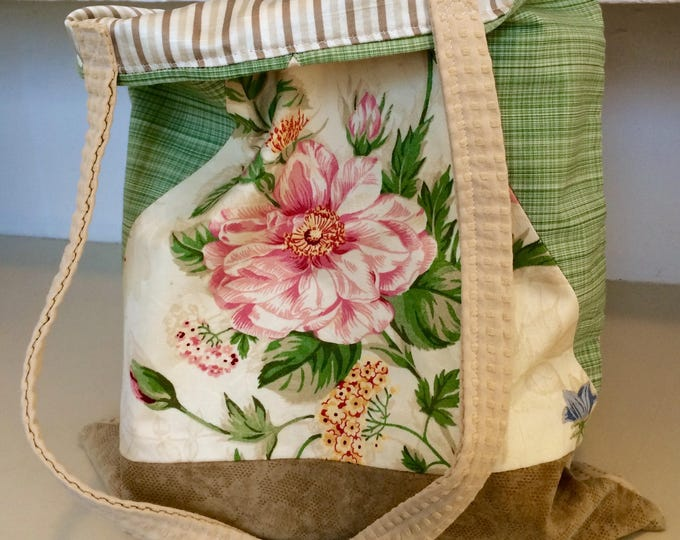 Featured listing image: Floral Tote Bag with Green Plaid and Leather Bottom, Fully Lined Market Bag