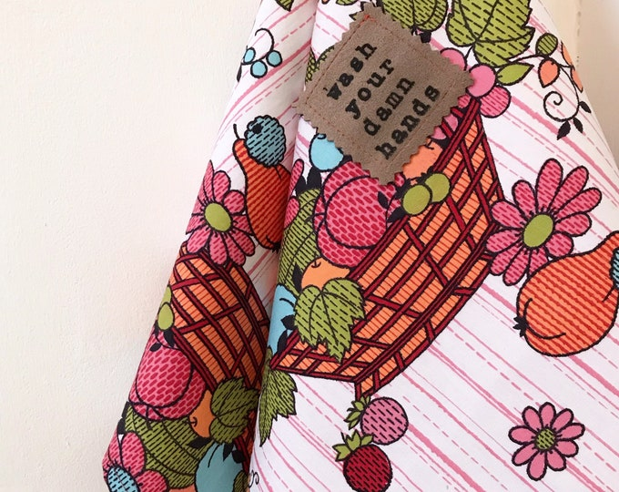 Featured listing image: Wash Your Damn Hands Hand Towel, Vintage Fruit Basket Print