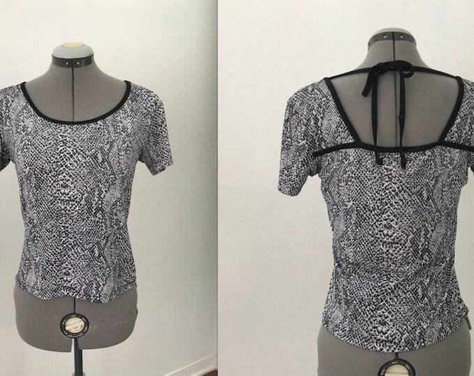 Vintage 90s Snakeprint Top with Tie Back Details