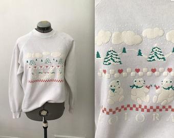 1988 Aspen Colorado Polar Bear Sweatshirt, Vintage 1980s Colorado Sweatshirt