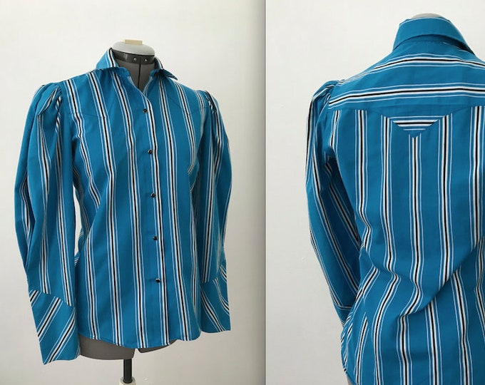 Vintage Blue and White Striped Western Rodeo Shirt by Roper