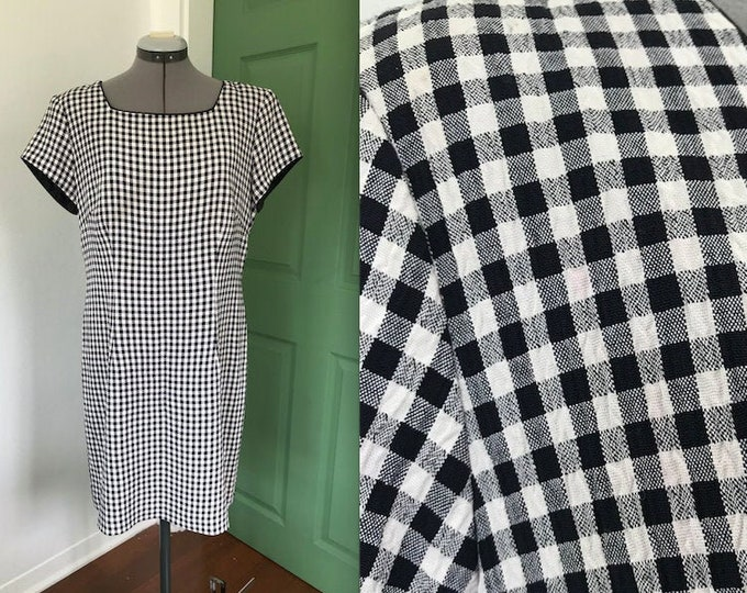 Vintage 1990s Black and White Gingham Day Dress