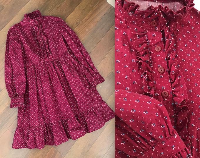 1970s Handmade Burgundy Girls Ruffled Prairie Dress