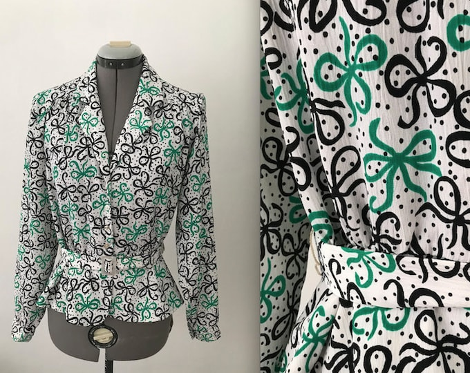 Disco Era Belted Bow Print Blouse, Belted Bow Print Peplum Top Blouse