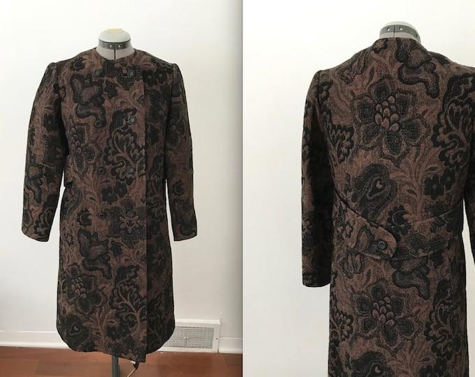 1960s Brown Brocade Winter Coat by Betty Rose