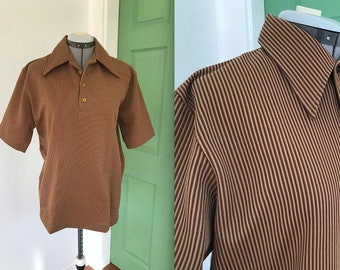 Vintage 1970s Mens Large Collar Polyester Striped T Shirt by Jantzen