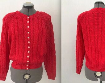 1980s Coral Cotton Cardigan