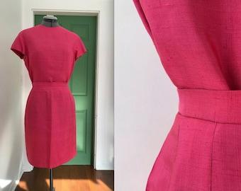 Vintage Handmade Hot Pink Two Piece Silk Suit Set