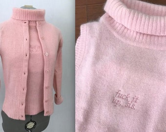 Fuck It Up Sis Embroidered Vintage Baby Pink Sweater Set, 1950s Angora and Lambswool Blend Turtleneck with Matching Cardigan