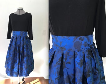 Black and Blue Brocade Fit and Flare Cocktail Dress with Knit Top