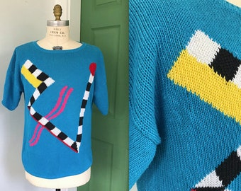 Vintage Large 1980s Abstract Print Sweater Tee
