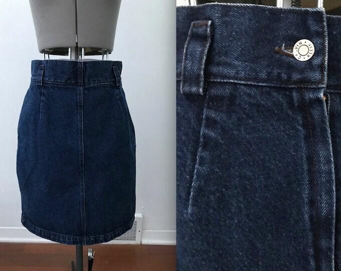 1980s Calvin Klein Sport Cotton Dark Wash Denim Skirt