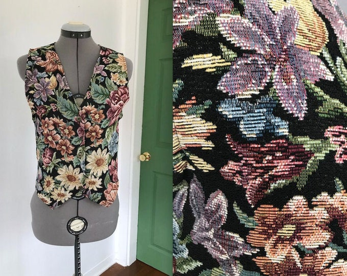 1990s Embroidered Jacquard Floral Vest by Arizona