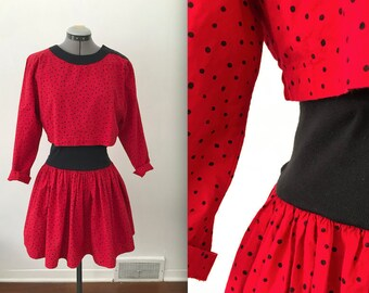 1980s Red and Black Polka Dot Cotton Party Dress