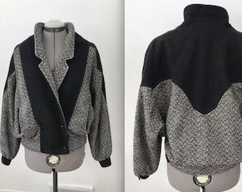 Vintage 1980s Bomber Jacket in Grey and Black