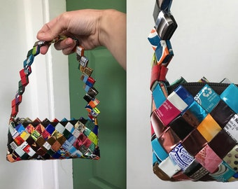 1990s Y2K Candy Wrapper Purse, 2000s Handmade Bag Made of Woven Wrappers, Multicolored Y2K Purse