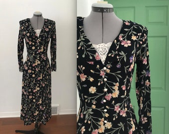 Vintage 90s Fredericks of Hollywood Long Black Floral Maxi with Corset Back