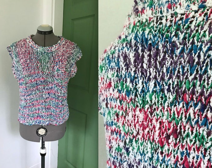 Funky 1980s Multicolored Nubby Cropped Sweater by Razz M Tazz