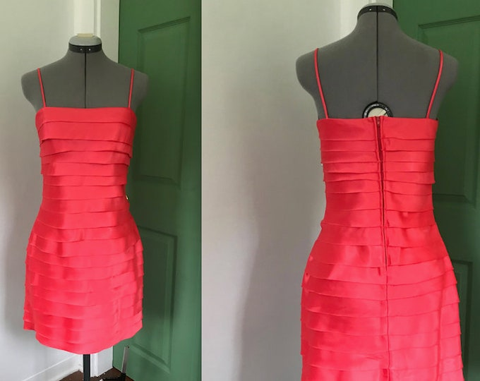 Y2K Coral Tiered Party Dress