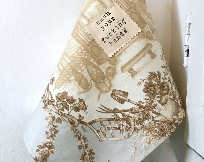 Featured listing image: Wash Your Fucking Hands Vintage Toile Towel
