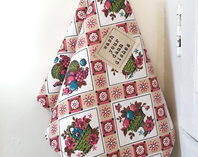 Featured listing image: Wash Your Damn Dishes, Vintage Floral Print Dish Towel