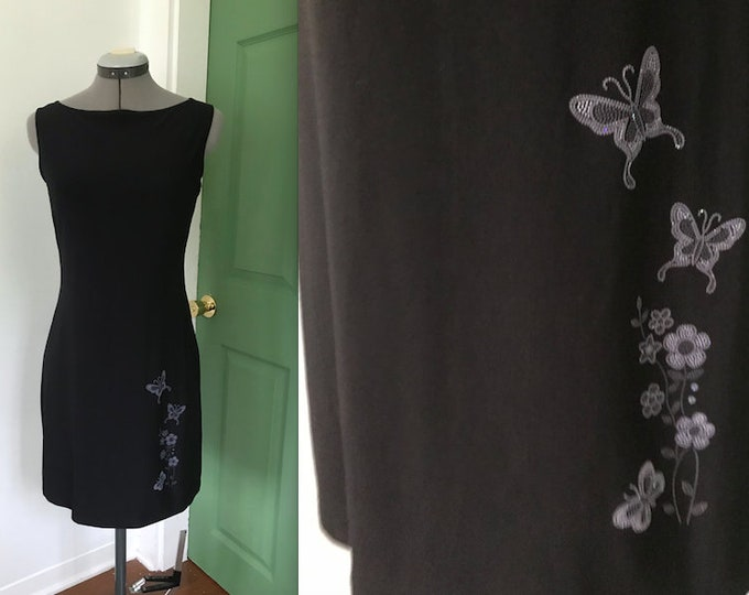 1990s Black Glitter Butterfly Dress, 90s Black Party Dress