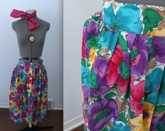 1980s Bright Scribbled Floral Cotton Midi Skirt