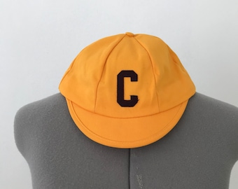 1950s Style Baseball Beanie in Mustard and Burgundy