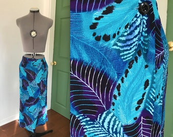 Vintage Purple and Teal Tropical Polynesian Print Wrap Skirt, Vintage Beachwear, 1990s Tropical Print Resort Wear