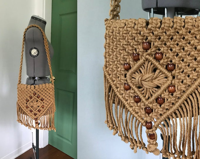 Late 1960s, Early 1970s Handmade Macrame Purse with Wooden Beads and Tassels