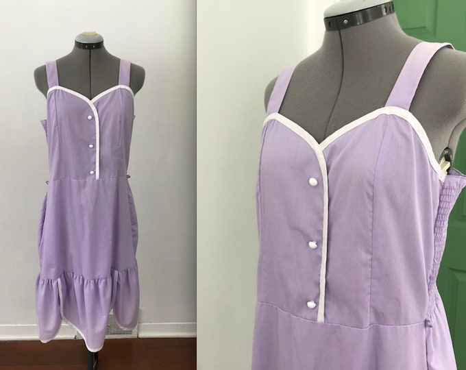 Vintage Purple and White Trimmed House Dress with Ruffled Edges and Smocking, Vintage Thin Lilac Lounge Dress