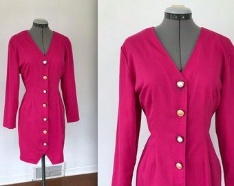 1980s Hot Pink Button Up Dress