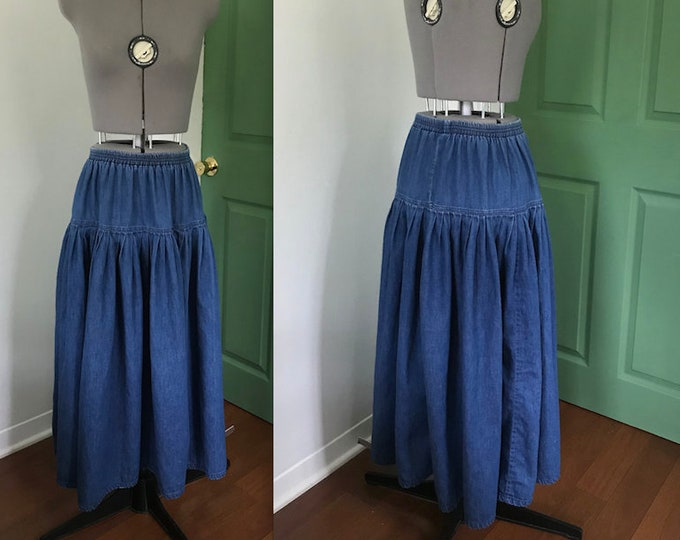 Vintage Cotton Denim Maxi Skirt with Ruffled Tiers