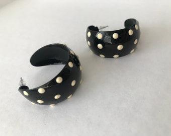 Black and White Polka Dot Metal Hoops