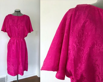 Vintage 1980s Silky Hot Pink Polyester Day Dress