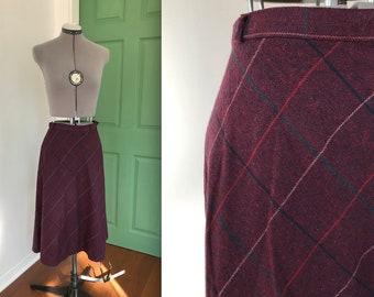 Vintage Maroon Plaid Wool Skirt, Vintage Thin Schoolgirl Plaid Skirt, Vintage Spring Plaid A Line High Waisted Skirt, Vintage Purple Plaid