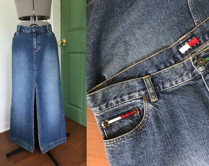 1990s Tommy Jeans Denim Skirt with High Front Slit
