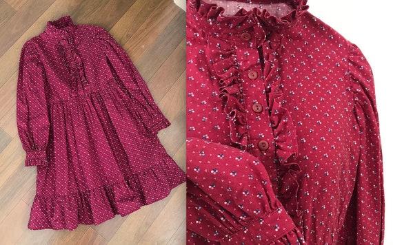 1970s Handmade Burgundy Ruffled Prairie Dress
