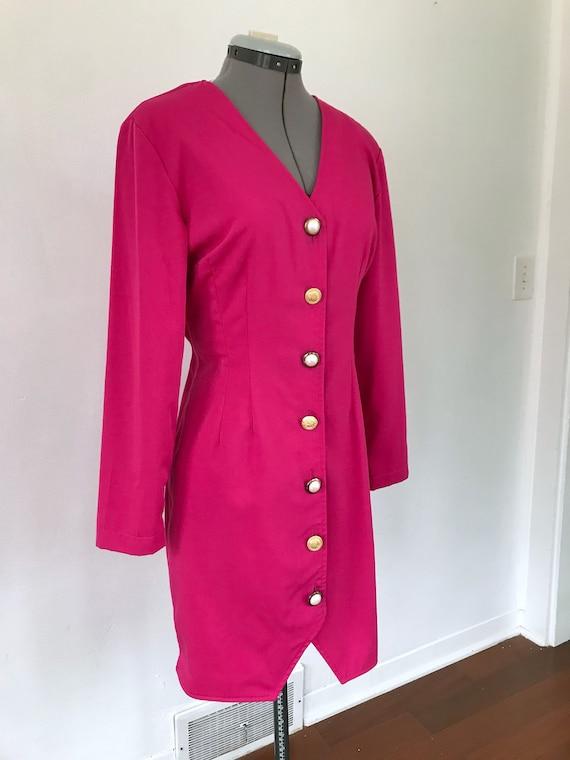 1980s Hot Pink Button Up Dress, Vintage 1980s Pri… - image 3
