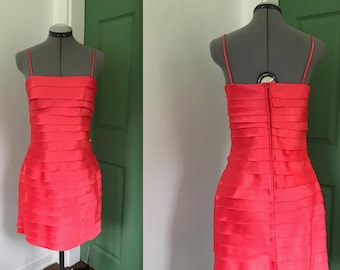 Y2K Coral Tiered Party Dress, 2000s Silky Party Dress with Straight Neck and Spaghetti Straps
