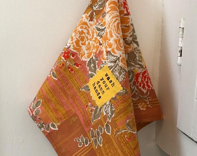 Wash Your Damn Hands Vintage Orange Floral Hand Towel