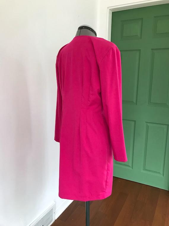1980s Hot Pink Button Up Dress, Vintage 1980s Pri… - image 4