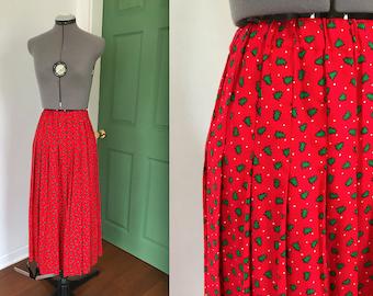 Vintage Novelty Print Christmas Tree Skirt, Vintage Christmas Tree Skirt, Vintage Holiday Skirt
