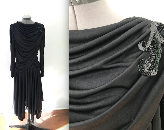 Vintage Dancing Dress 1980s Black Filigree Rouched Party Dress with Sequin Details