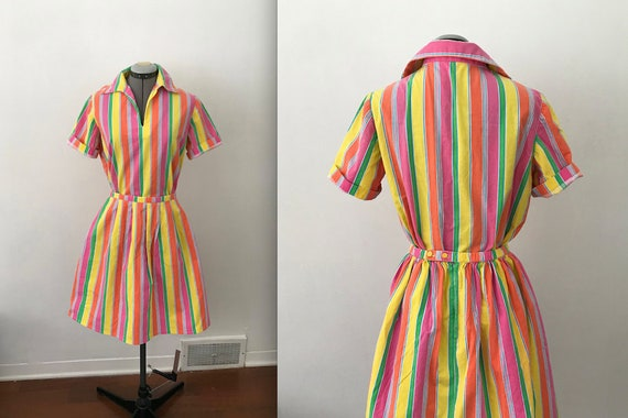 Vintage Handmade Two Piece Rainbow Stripe Set