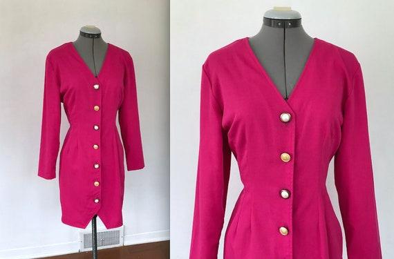 1980s Hot Pink Button Up Dress, Vintage 1980s Pri… - image 1