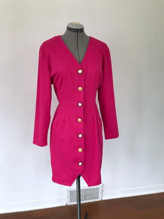 1980s Hot Pink Button Up Dress, Vintage 1980s Pri… - image 6